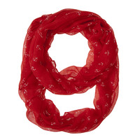 Womens Anchor Print Infinity Scarf Red