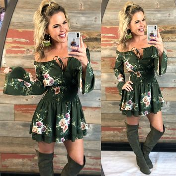 Save it for Another Time Floral Dress: Olive