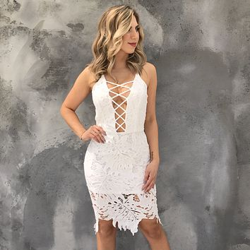Promising Views Crochet Lace Midi Dress in Ivory