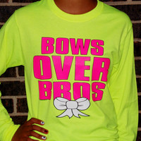 Bows Over Bros Long Sleeved T-Shirt. Girl Power Shirt. Customize To Size And Color.