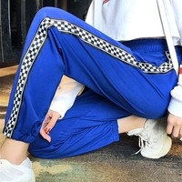 Unisex Retro Casual Logo Webbing Straight Pants Sweatpants Couple Leisure Pants Trousers
