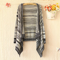 LOOSE IRREGULAR COLOR BUTTON WITHOUT KNIT CARDIGAN