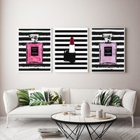 Nordic Abstract Lipstick COCO Perfume Bottle Wall Art Canvas Painting Modern Wall Pictures For Living Room Home Decor No Frame