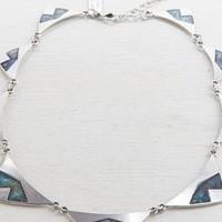 AEO Women's Abalone Triangle Statement Necklace (Silver)