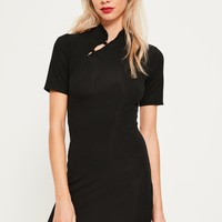 Missguided - Black Oriental Bodycon Dress