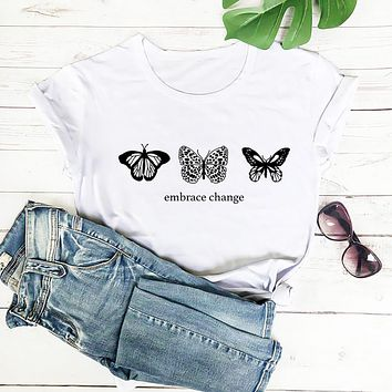 Butterfly Embrace Change Ladies Graphic Tee
