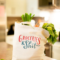"""Large, Sturdy, Thick Canvas """"Groceries & Sh*t"""" Tote Bag"""