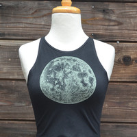 Full Moon and Zodiac Glow in the Dark Fitted Crop Top - Sacred Geometry - Yoga Wear