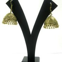 Dangle Earrings Jhumkas Gold Tone Jewelry India Women Wear Dangle Earring Set Fashion Jewelry | Mogul Interior