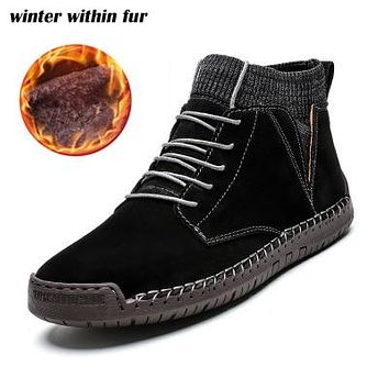 Men Winter Waterproof Suede Leather Boots