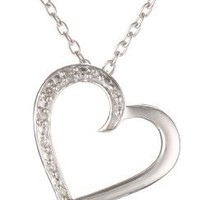 """Women's Sterling Silver Heart Diamond Pendant Necklace (0.03 cttw, I-J Color, I2 Clarity), 18"""""""