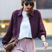 Wine Red Long Sleeve Jacket