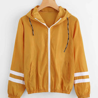 Varsity-striped Zip Up Hooded Jacket -SheIn(Sheinside)