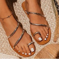 New summer flower strap ladies personalized sandals slippers