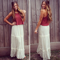 Wave on Wave Tiered Maxi Skirt