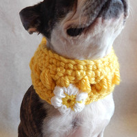 Yellow dog Cowl scarf  hand crocheted neck warmer with white flower  Boston Terrier