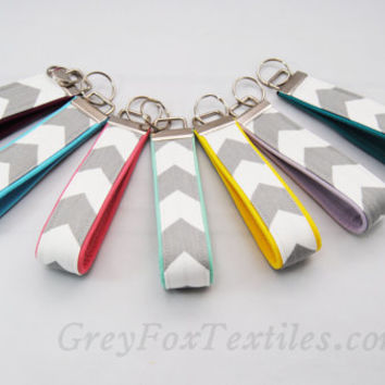 Design your own, gray chevron Key fob , choose your accent color