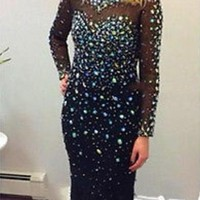 Sexy Black Rhinestones Beaded Maxi Evening Dress 2015 Scoop Neck Backless Long Sleeve Prom Dresses Mermaid Women Pageant Gowns