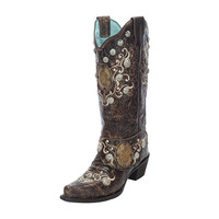 Corral Womens Brown Concho Side Harness Western Cowgirl Boots