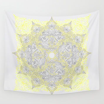 Sunny Doodle Mandala in Yellow & Grey Wall Tapestry by Micklyn