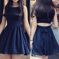 Summer Cute Women Sleeveless Party Dress Dark Blue Color = 1931619396
