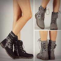 New Tribal Sweater Combat Boots Buckle Military Rustic Black Gray Womens Fashion