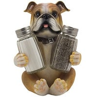 Bulldog Salt & Pepper Shaker Set Statuette with Decorative Spice Rack Display Stand Holder Puppy Dog Figurine in Puppy and Canine Kitchen Decor or Restaurant Bar Table Decorations As Housewarming Gifts for Pet Lovers