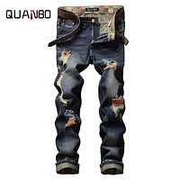 QUANBO 2017Summer  Hight Quality Brand Jeans Mens Street Hole Ripped Straight Fashion Jeans Homme Distressed Denim Trousers 8730