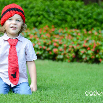 Red Mickey Mouse Tie and Beanie Set-Boys Tie and Hat-Photo Prop-Mickey Mouse Birthday Tie and Hat