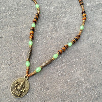 Prosperity and Success, genuine Tiger's eye and African trade beads beaded Ganesh necklace