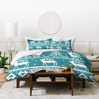 Natt Knitting Blue Deer Duvet Cover