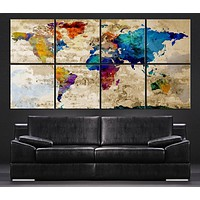 Large Wall Art Canvas Print Colorful WORLD MAP on Rustic Wall 8 Panel Vintage World Map Canvas