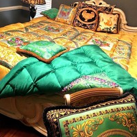 10K VERY RARE Versace Silk Comforter Reversible With Two matching pillows Queen
