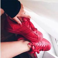 """""""Adidas"""" Fashion Shell-toe Flats Sneakers Sport Shoes Pure color Red"""