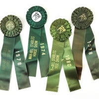Equestrian Ribbons, Lot of 4 Vintage New England Horse Show Prizes / Instant Collection / Green / Equine Sport Awards