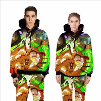 Men's Casual Ricky and Morty 3D Print Hoodies Women 's Anime Sweatshirt With Hat Unisex Sweatshirts Clothing for Spring Autumn