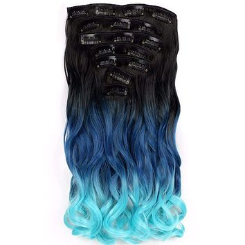 Black Gradient Blue Color Curly Hair synthetic 7pc and 16 clips