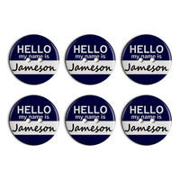 Jameson Hello My Name Is Plastic Resin Button Set of 6