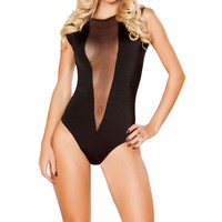 Fashion Womens Bodysuits Sexy Ladies Sleeveless Bodysuits Leotard Bodycon Bandage Black Womens O-Neck Lingerie Clothing