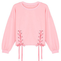 Pink Lace Cropped Sweatshirt