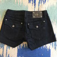 Miss Me Clean Flap Pocket Jean Shorts - Black