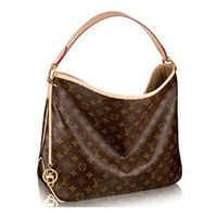 LV Women Shopping Leather Tote Authentic Louis Vuitton Monogram Canvas Delightful PM Handbag Article:M50154 Made in France