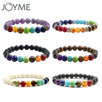 2017 New 7 Chakra Bracelet Men Black Lava Healing Balance Beads Reiki Buddha Prayer Natural Stone Yoga Bracelet For Women