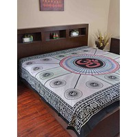 Handmade 100% Cotton Mandala Om Tie Dye Tapestry Tablecloth Spread Full Yoga