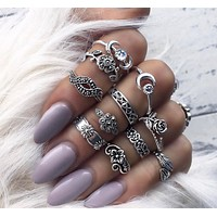 The new fashion retro alloy carved 11 sets of rings