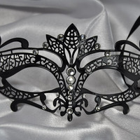 Best Seller - Elegant Black Handcrafted Masquerade Mask Personalized with Rhinestones