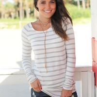 Charcoal Striped Ruched Tunic