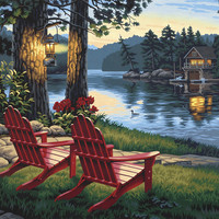 "Adirondack Evening Paint By Number Kit - 20"" x 14"""