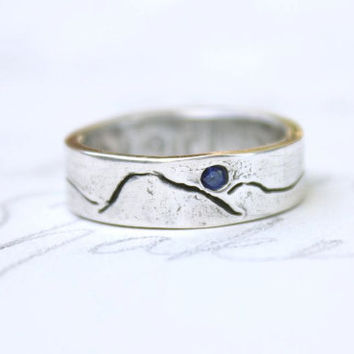 custom mountain landscape wedding band. eco friendly recycled silver ring . fair trade sapphires by peaces of indigo