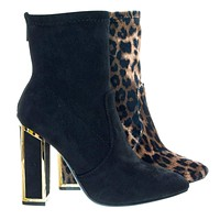 Illusion04 Metal Trim Chunky Block Heel w Pointed Toe & Stretchy Ankle Bootie